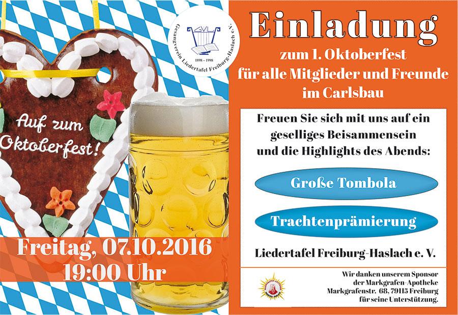 einladung zum oktoberfest 2016 - liedertafel freiburg-haslach, Einladung
